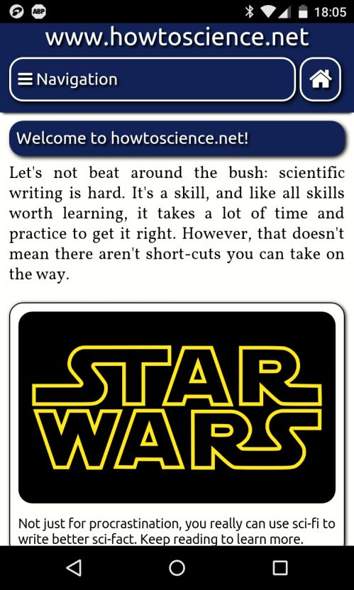 The mobile layout of howtoscience.net